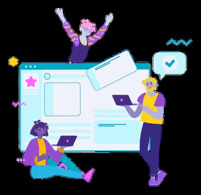 grafika: trzy postacie komunikacja online
