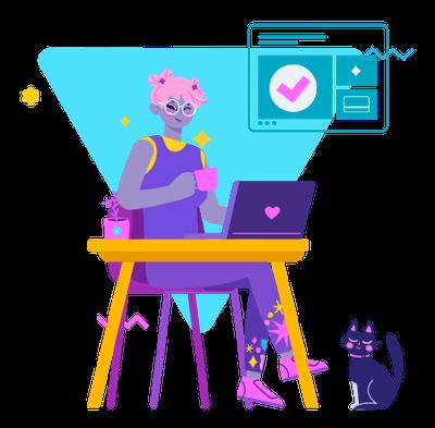 ilutracja: postać pracująca na komputerze czerpiąca korzyści z towarzystwa kota